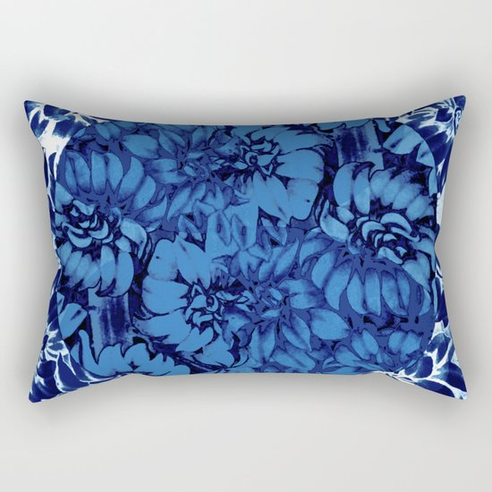 blue floral circle on blue floral Rectangular Pillow