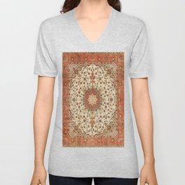 N71 - Orange Antique Heritage Traditional Moroccan Style Mandala Artwork Unisex V-Neck