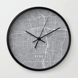 Reno Map, Nevada USA - Pewter Wall Clock
