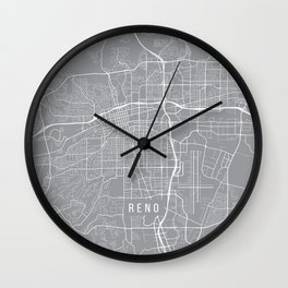Reno Map, Nevada USA - Pewter Wall Clock