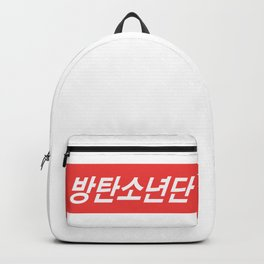 BTS Hangul Bangtan Boys red Backpack