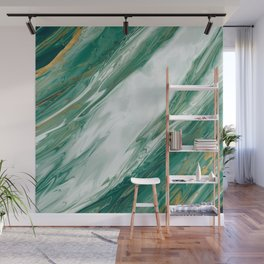 Emerald Jade Green Gold Accented Painted Marble Wall Mural