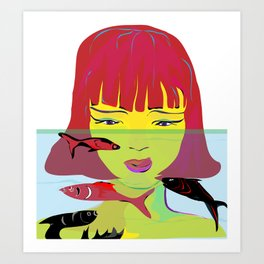 """Redhead Worry"" Paulette Lust's Original, Contemporary, Whimsical, Colorful Art Art Print"