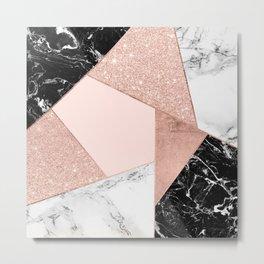 Modern rose gold glitter black white marble geometric color block Metal Print
