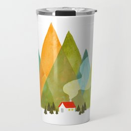 House at the foot of the mountains Travel Mug