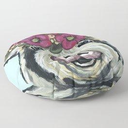 Cute Pig Art, Flower Crown Pig Art Floor Pillow