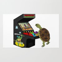 ninja turtle Area & Throw Rugs featuring Arcade Ninja Turtle by Michowl