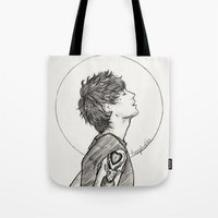 louis ck Tote Bags featuring Louis by harrydoodles