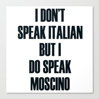 moschino Canvas Prints featuring Moschino by cvrcak