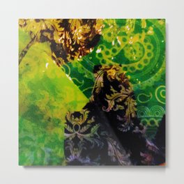 paisley and damask green and black Metal Print
