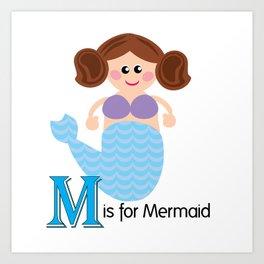 M is for Mermaid Art Print