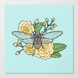 Cicada with Roses - Blue Canvas Print