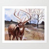 Deer Landscape Art Print