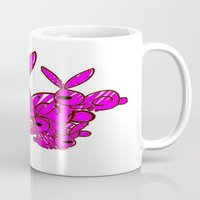 bunnies Mugs featuring Bunnies by Christa Bethune Smith