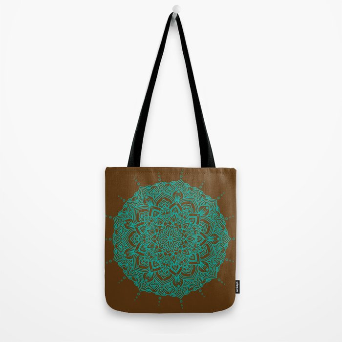Blue Green Mandala With Droplets On Brown Tote Bag