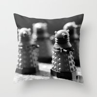 robots Throw Pillows featuring Robots by Emma Harckham