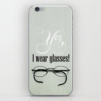 glasses iPhone & iPod Skins featuring Glasses by Julia Dávila-Lampe