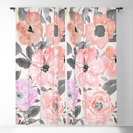 Elegant simple watercolor floral Blackout Curtain