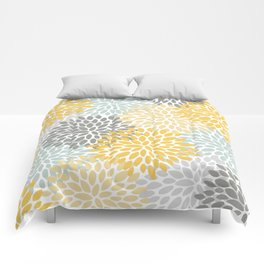 Floral Pattern, Yellow, Pale, Aqua, Blue and Gray Comforters