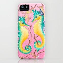 Seahorses Kelp Pink iPhone Case