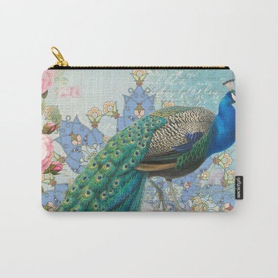 Peacock & Pink Roses #2 Carry-All Pouch