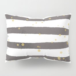 Modern gray yellow white watercolor splatters stripes Pillow Sham