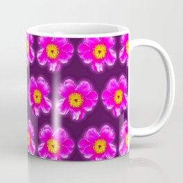 Pink floral pattern on a burgundy background, Girly Pattern Coffee Mug