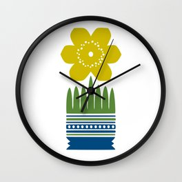 Nordic Yellow Flower Wall Clock