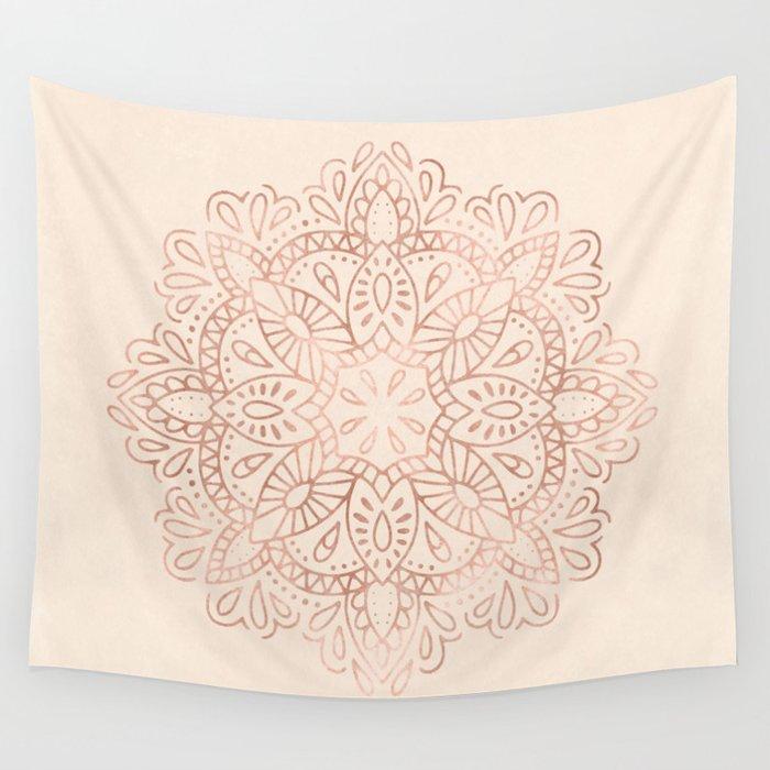 Mandala Rose Gold Pink Shimmer on Light Cream Wall Tapestry