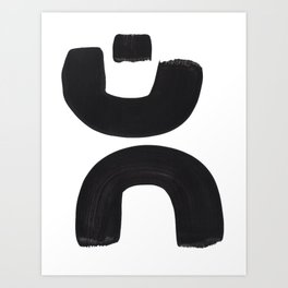 Black And White Minimalist Mid Century Abstract Ink Art Curved Tribal Mysterious Shapes Art Print
