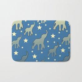 Blue Elephants Stars Pattern Bath Mat