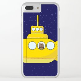 Yellow submarine in deep sea with a cat and bubbles Clear iPhone Case
