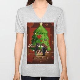 christmas tree christmas wishes couple heart kiss mood love Unisex V-Neck