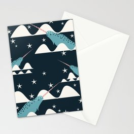 narwhal in ocean blue Stationery Cards
