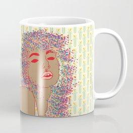 80'S Leotard Lady with Retro Pattern Background Digital Drawing Coffee Mug