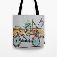 truck Tote Bags featuring Rocket Truck by Ryan van Gogh