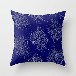 Large scale silver branches pattern indigo background Throw Pillow