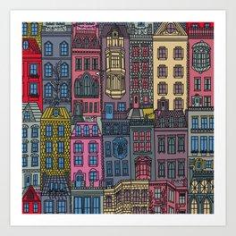 New York Brownstones Multicolor Art Print
