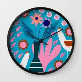 Hens in floral rain Wall Clock