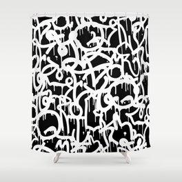 Black and White Graffiti Pattern Shower Curtain