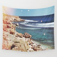 dolphins Wall Tapestries featuring Dolphins by Mermaid's Coin Surf Art * by Hannah Kata