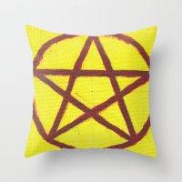 pentagram Throw Pillows featuring Pentagram by Ria-Ra