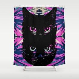 Black Cat Rising Shower Curtain