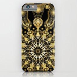 Gold Mandala with black background I- Light Frequency Energy Art iPhone Case