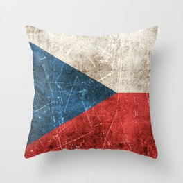 Vintage Aged and Scratched Czech Flag Throw Pillow