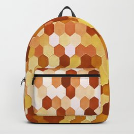 Honeycomb Pattern In Warm Mead and Honey Colors Backpack