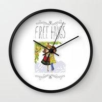 hug Wall Clocks featuring Hug by Rita Correia Illustrator