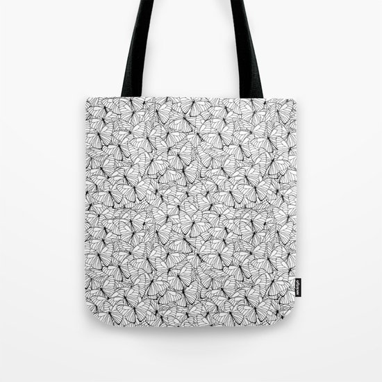 Butterflies Black on White Tote Bag