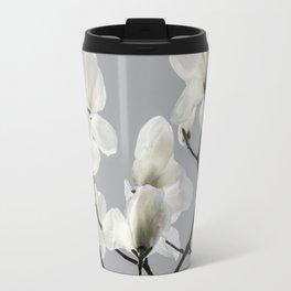 Gray Magnolia and White Travel Mug