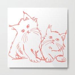 Katzen 001 / Minimal Line Drawing Of Two Cats Metal Print